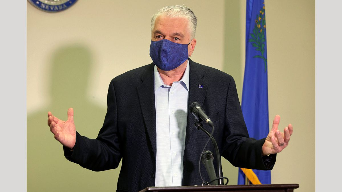 In this Friday, Oct. 2, 2020 file photo Nevada Gov. Steve Sisolak updates the state's COVID-19...