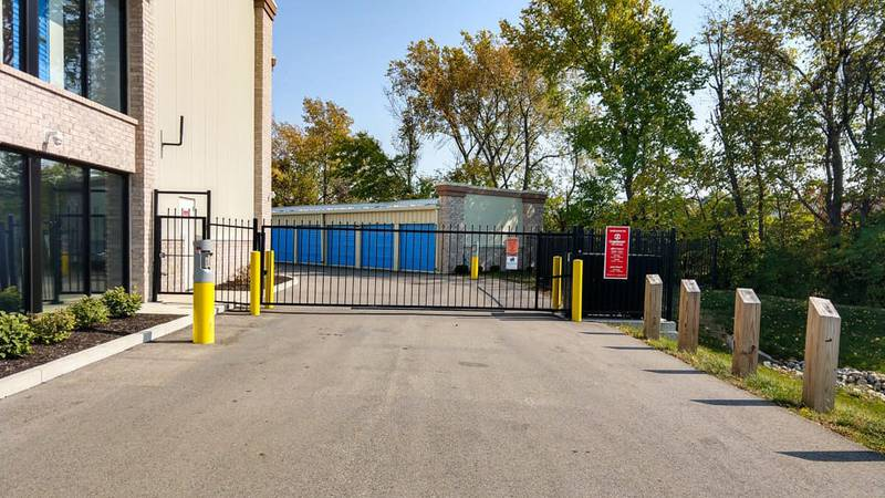 The front gate of StorageMart self storage at 10415 Allisonville Rd, in Fishers, IN.
