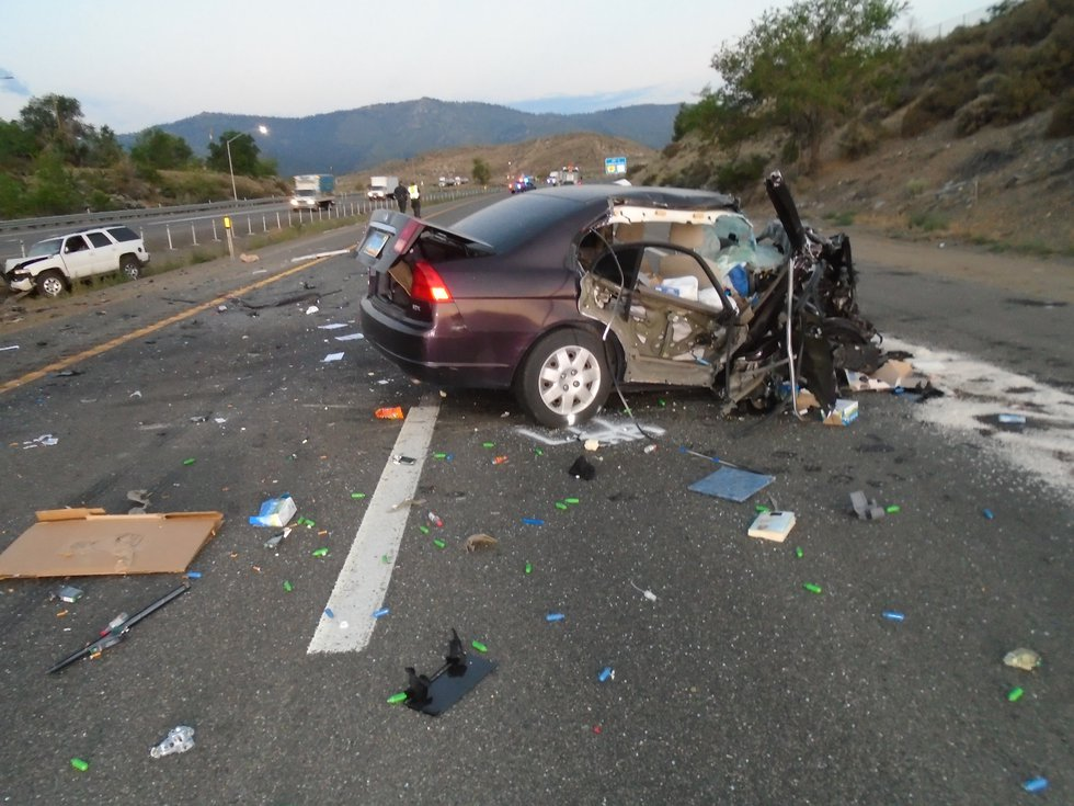 The scene of a fatal head-on crash on I-80 near Boomtown.