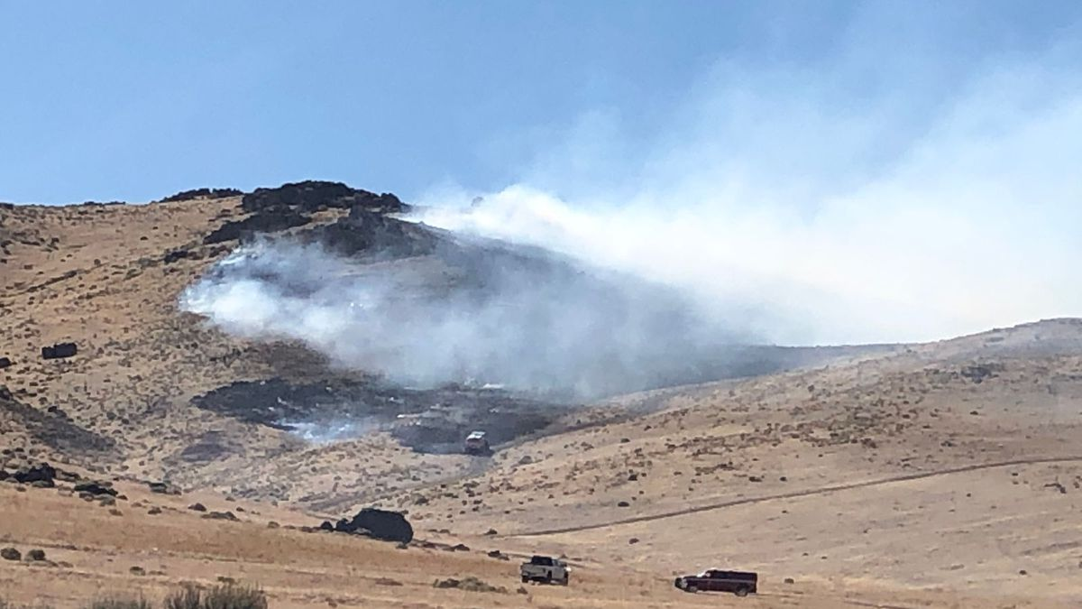 The scene of the Kohl's Fire near the Pyramid Highway and Disc Drive. Photo by Kelsey Marier.