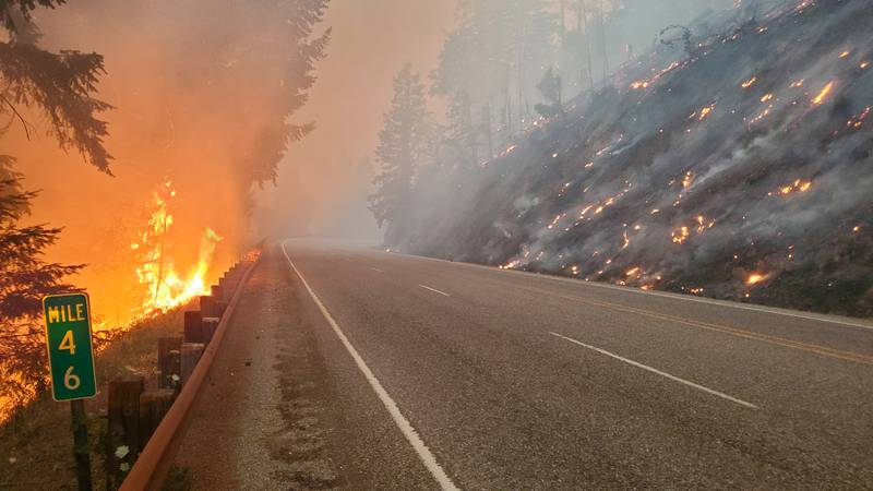 In this photo provided by the Oregon Department of Transportation flames from the Jack Fire...