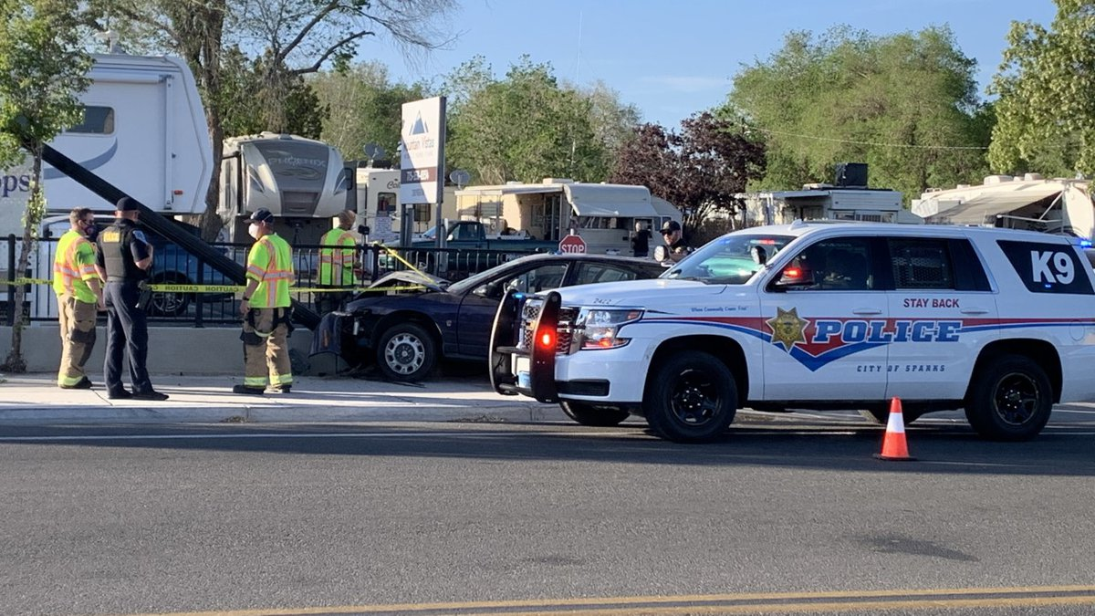 Sparks Police investigates a crash near the intersection of El Rancho Dr. and Prater Way.