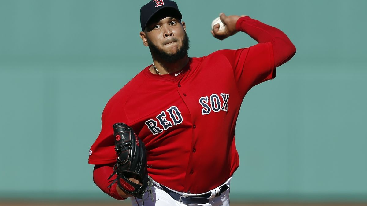 In this Sunday, Sept. 29, 2019 file photo, Boston Red Sox's Eduardo Rodriguez pitches during the first inning of a baseball game against the Baltimore Orioles in Boston. .(AP Photo/Michael Dwyer, File)