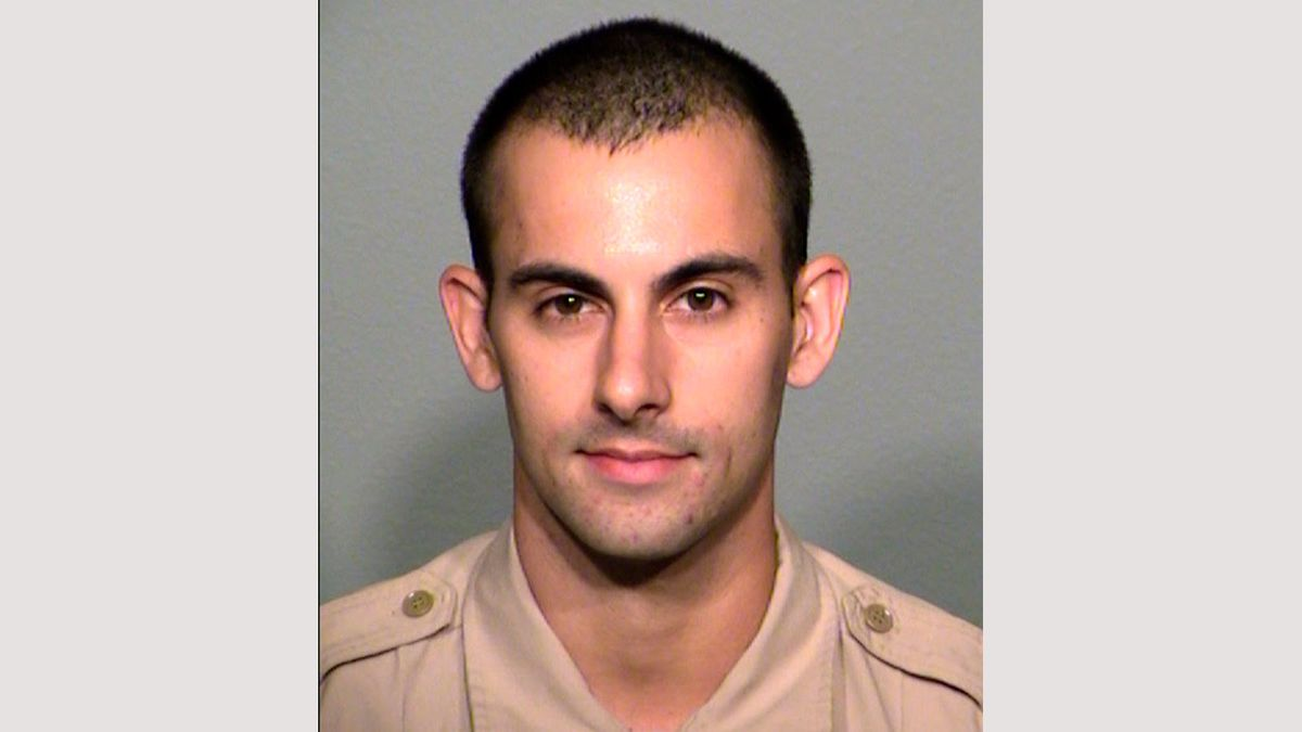 An undated photo provided by the Las Vegas Metropolitan Police Department shows officer Shay Mikalonis.  (Las Vegas Metropolitan Police Department via AP, File)