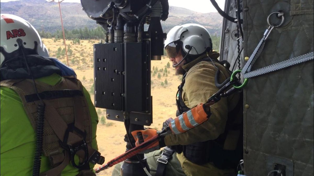 The Nevada Division of Forestry released this photograph of its new helicopter rescue hoist.