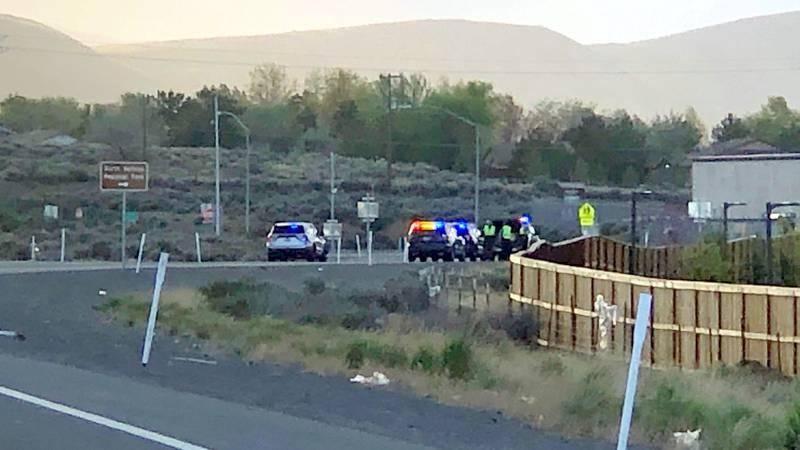 The scene of a crash on U.S. 395 near Stead Boulevard.