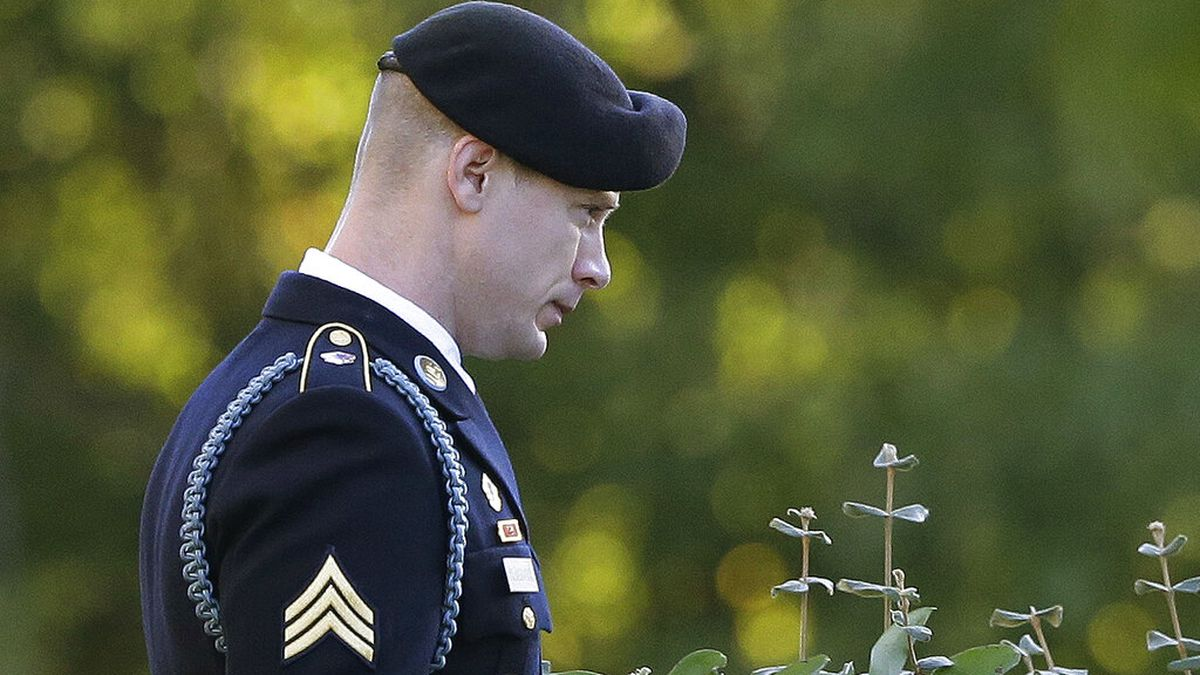 In this Nov. 3, 2017, file photo, Army Sgt. Bowe Bergdahl leaves the Fort Bragg courtroom...