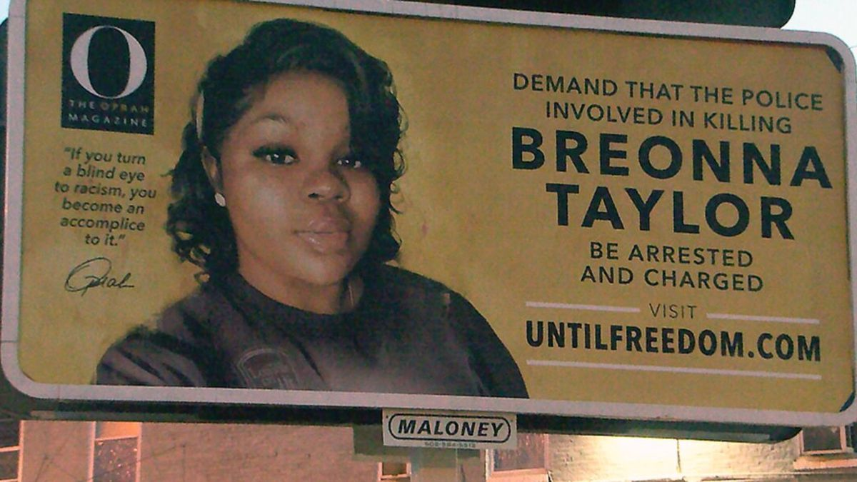 Oprah Winfrey is having dozens of billboards installed around Louisville calling for justice for Breonna Taylor.