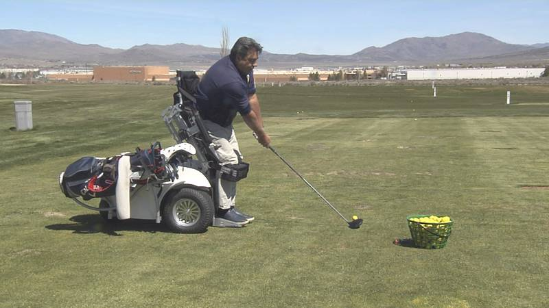 Anthony Netto, co-inventor of the Paramobile, tees off to welcome the newest machine to Sierra...