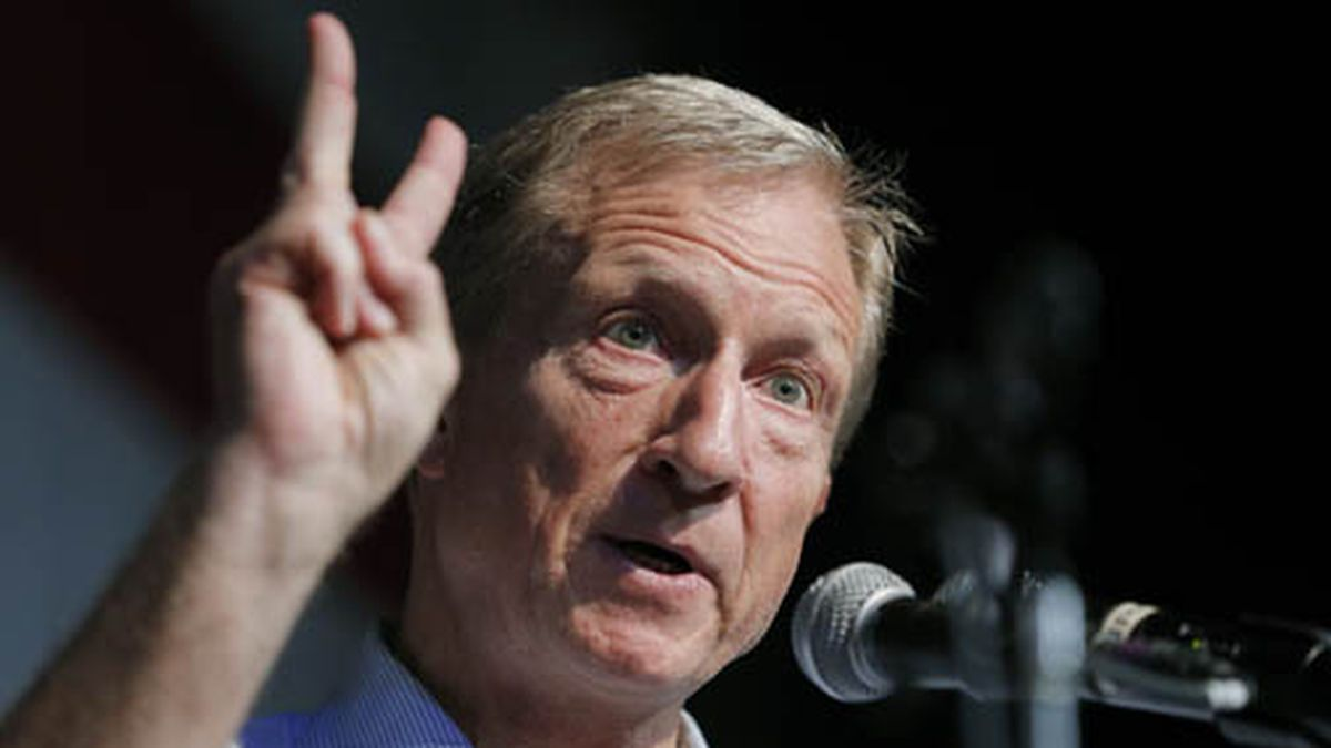 Democratic presidential candidate and businessman Tom Steyer speaks at the Iowa Democratic Wing...