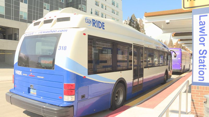 An electric bus pulls into the new Lawlor station on Virginia St. and 15th St.