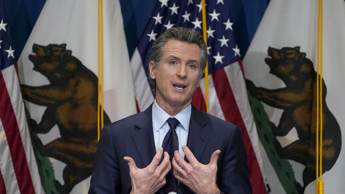 In this Jan. 8, 2021, file photo, California Gov. Gavin Newsom outlines his 2021-2022 state...