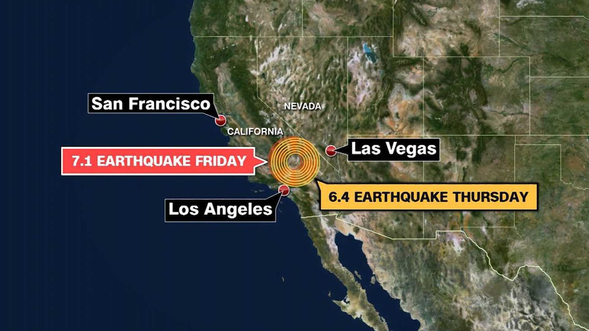 This map shows the location of earthquakes that hit on both Thursday and Friday near Ridgecrest, California. (Source: CNN)