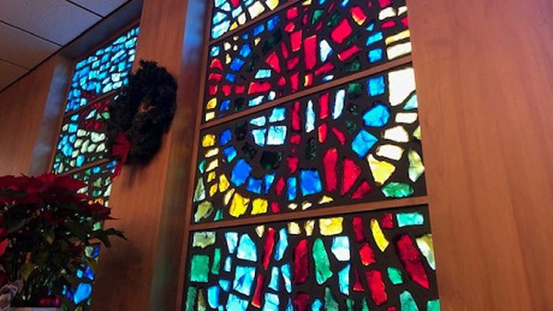 Stained glass window at the St. Mary's Medical Center chapel