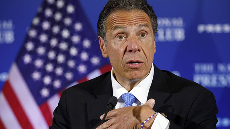 New York Gov. Andrew Cuomo speaks during a news conference, Wednesday, May 27, 2020, at the...