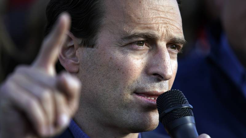 In this Nov. 8, 2020, file photo, former Nevada Attorney General Adam Laxalt speaks during a...