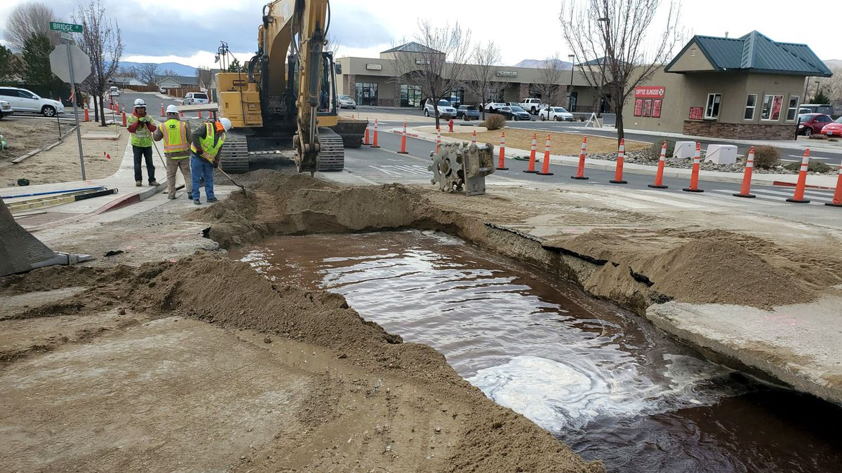 Lyon County released this photograph of a water main break in Yerington.
