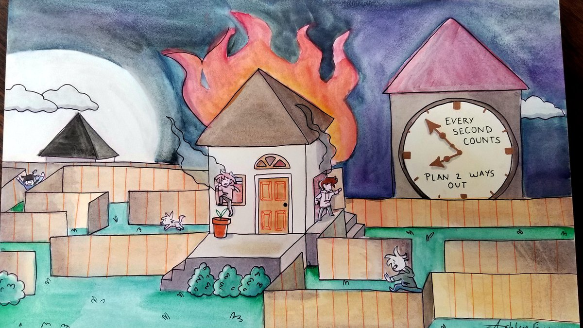 Ashley Figuera of Carson High School submitted this winning drawing in a fire poster contest....