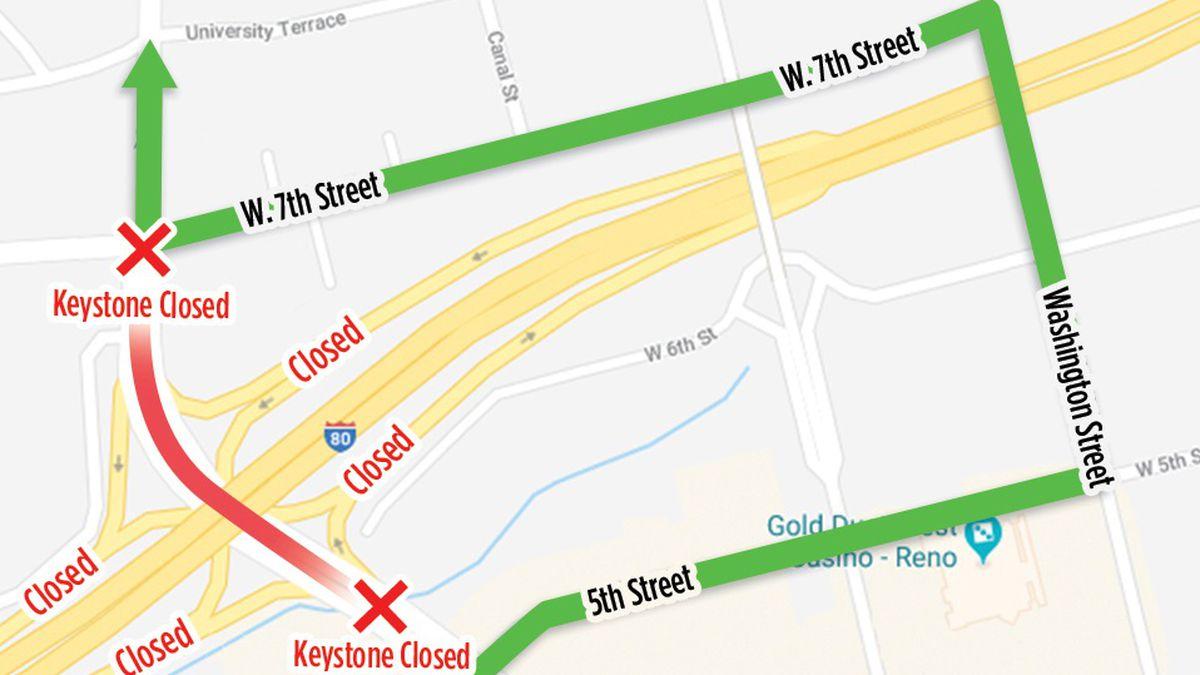 An NDOT map shows the detour around the Keystone / Interstate 80 interchange closure.