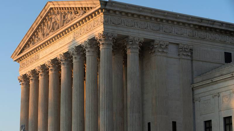 FILE - In this Aug. 2, 2021 file photo, the U.S. Supreme Court is seen on Capitol Hill in...
