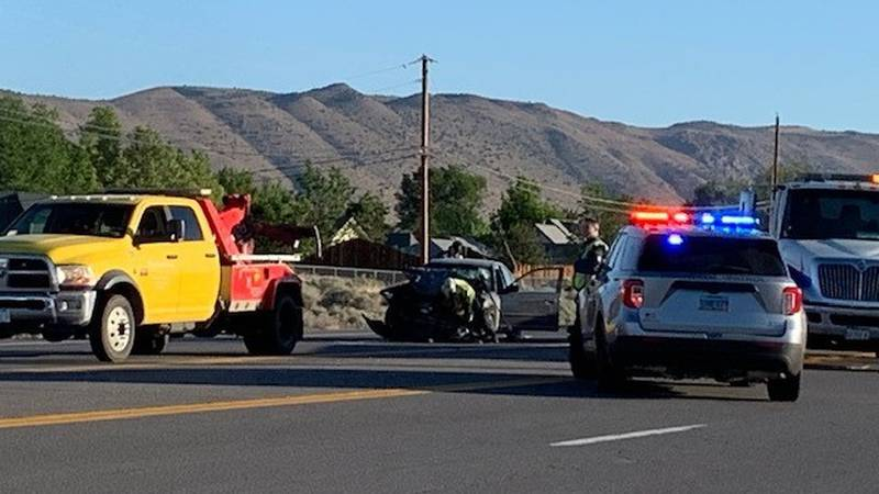 NHP investigates a deadly wrong-way crash on Pyramid Highway on Monday, May 31, 2021.