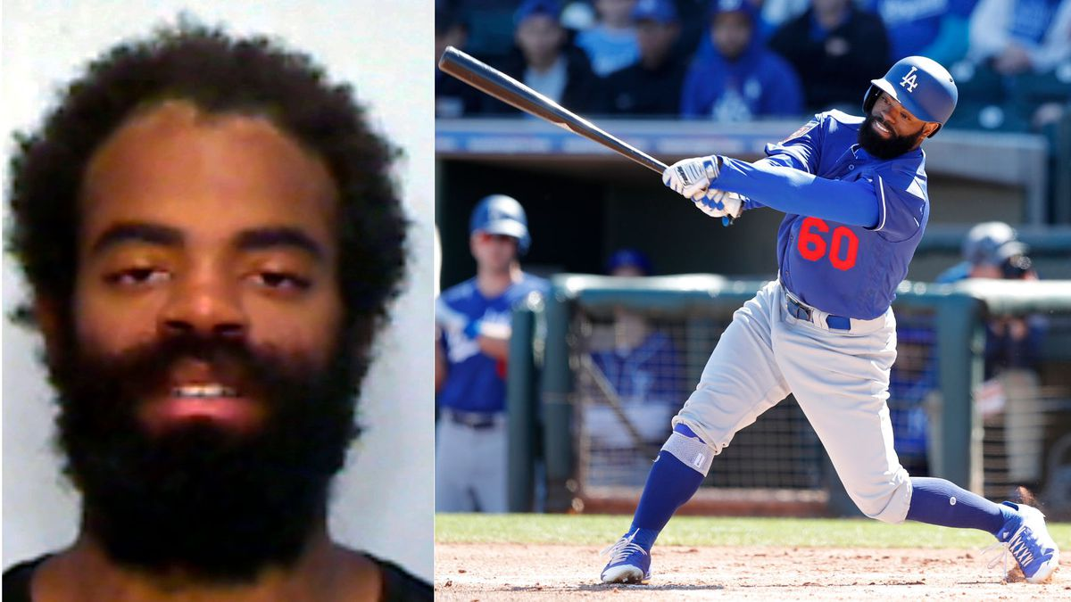 At left is the Monroe County Sheriff's Office booking photo of Andrew Toles. At right is an Associated Press photo by Charlie Neibergall in Surprise, Ariz., in 2018 at a Dodgers spring training game.