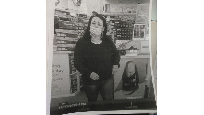The woman seen here is accused of stealing a pair of shoes from Famous Footwear in Minden.
