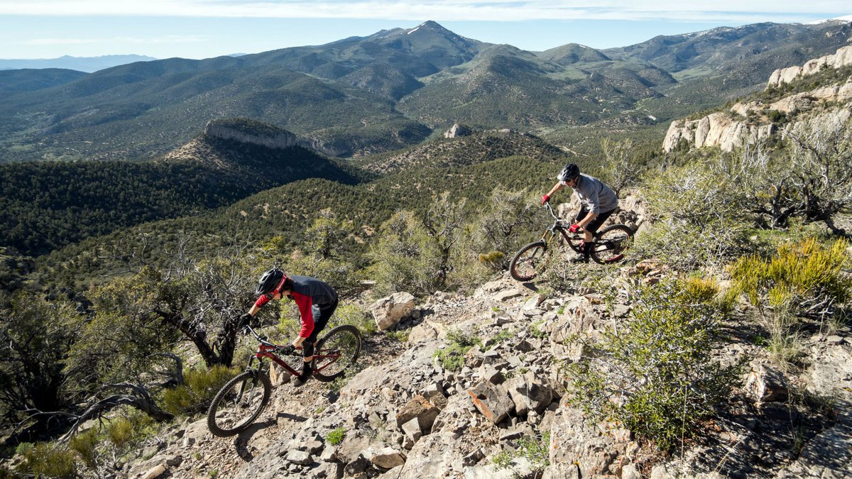 A trail photograph of the High Roller Trail at Cave Lake State Sparks supplied by the Nevada...