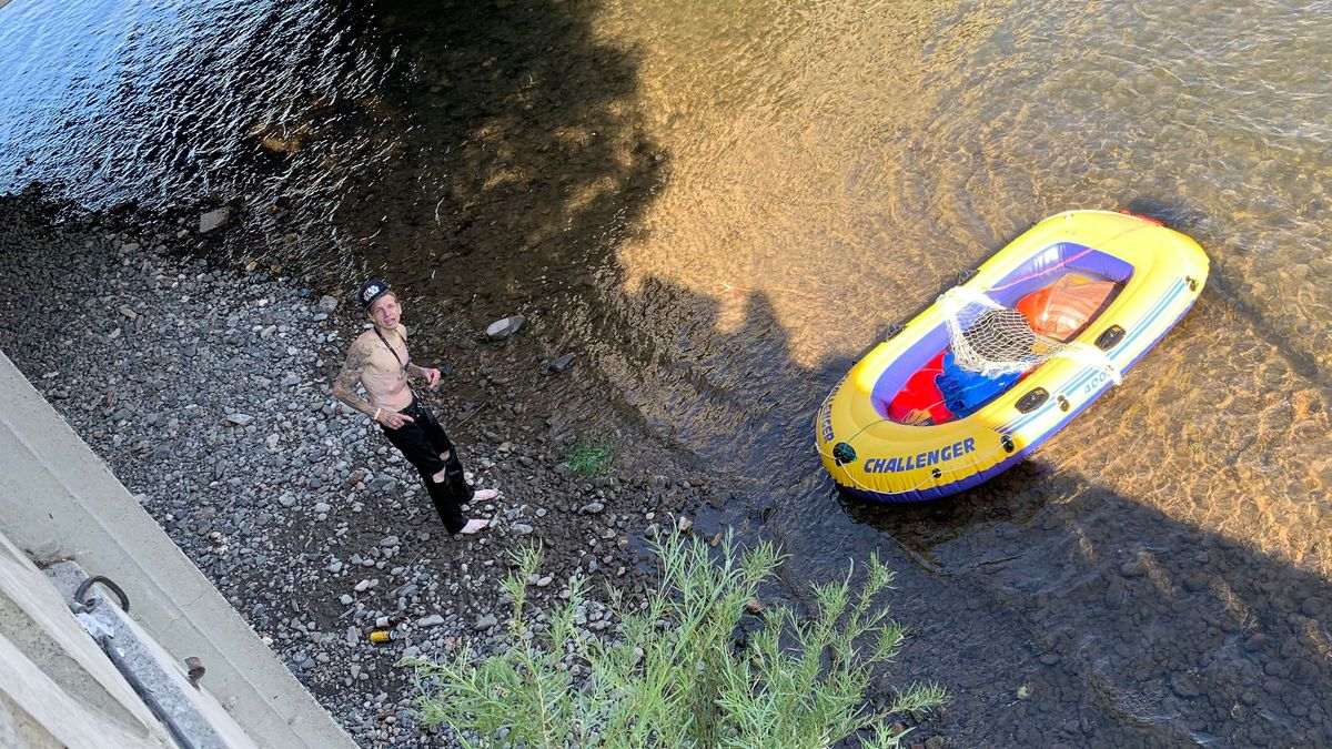 The Reno Fire Department went to rescue a rafter who could not get out of the Truckee River. Photo by Bridget Chavez/KOLO.