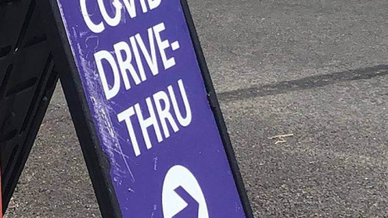Sign for vaccine drive thru event