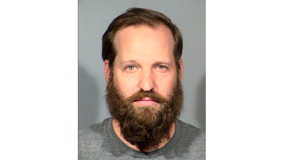 This undated booking photo provided by the Las Vegas Metropolitan Police Department shows Stephen T. Parshall. He and two other Nevada men with ties to a loose movement of right-wing extremists advocating the overthrow of the U.S. government have been arrested on terrorism-related charges in what authorities say was a conspiracy to spark violence during recent protests in Las Vegas. (Las Vegas Metropolitan Police Department via AP)