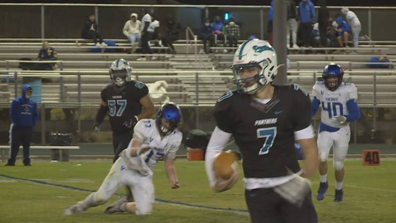 North Valleys' Cam Zeidler rushes past the South Tahoe defense in the Panthers' 48-6 win over...