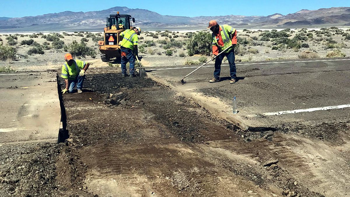 Repairs on U.S. 95 near Mina after a magnitutde-6.5 earthquake on May 15. Nevada Department of Transportation photo.