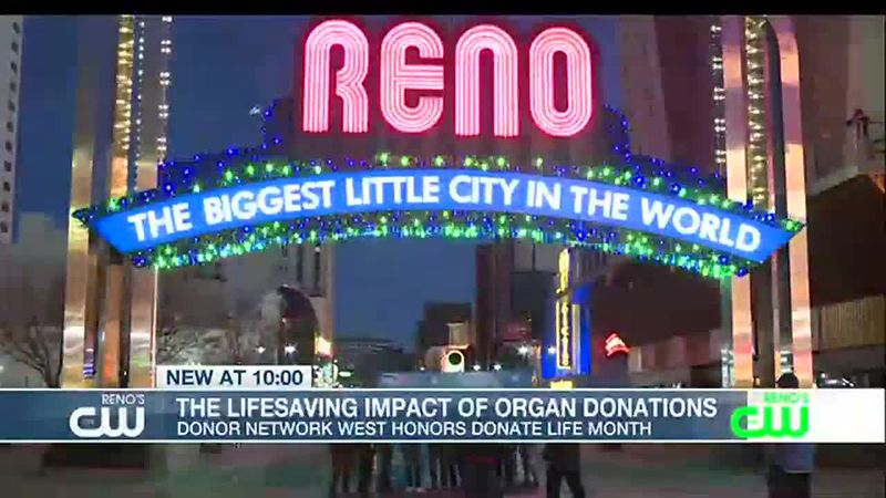 The downtown arch has been turned green and blue to promote organ donation awareness.