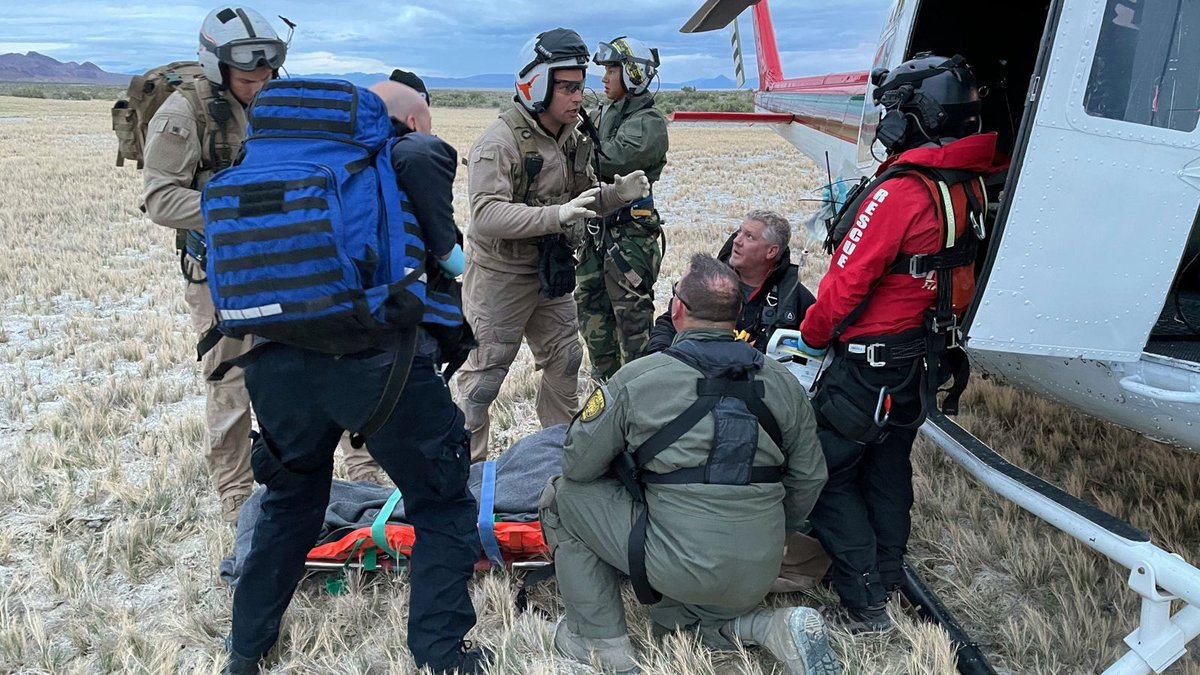 The Washoe County sheriff's Office provided this photograph of the rescue of a man from Double...