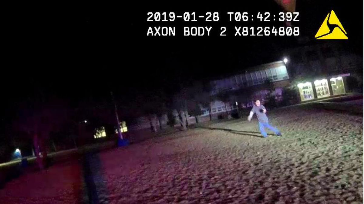This screenshot of body camera footage shows Patrick Michael Wootan charging Reno Police Department Officer Kevin Hendrix, the Washoe County District Attorney's Office said.