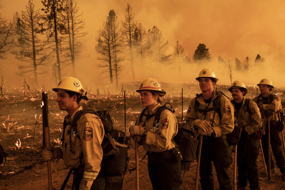 Firefighters from the California Department of Forestry and Fire Protection's Placerville...