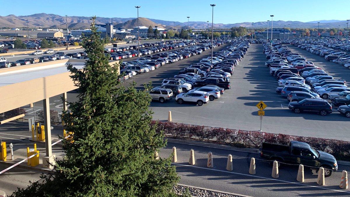 A full parking lot at Reno-Tahoe International Airport.