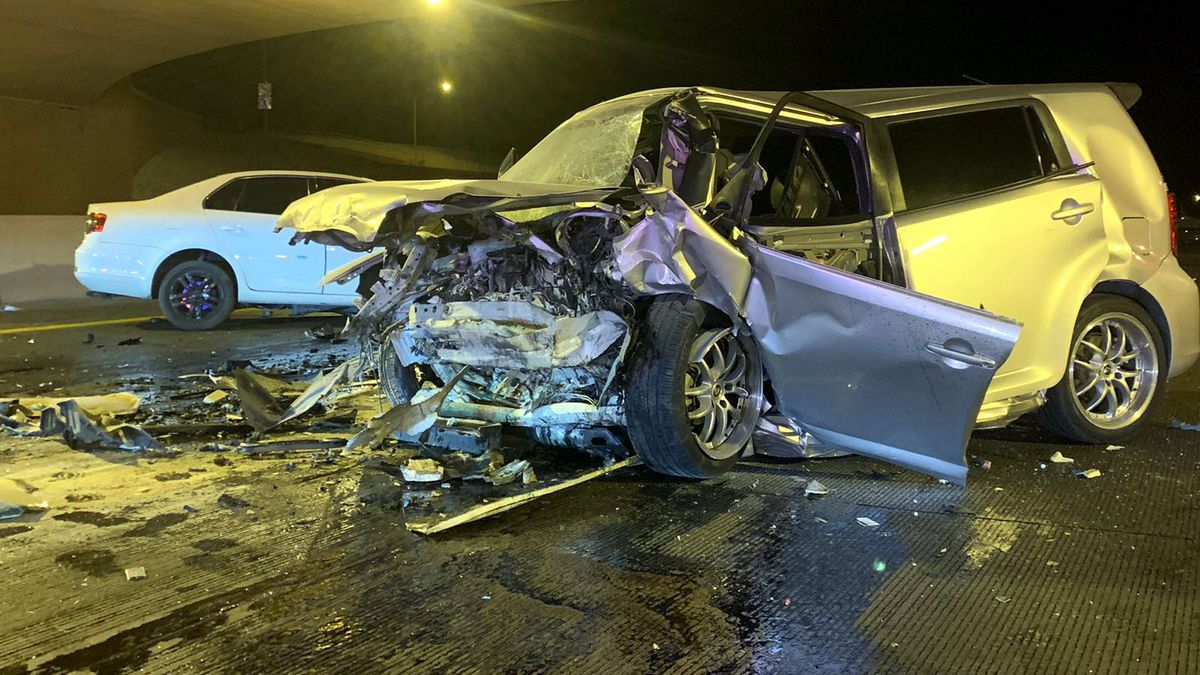 The Nevada Highway Patrol released this photo of the scene of a wrong-way crash in Las Vegas...