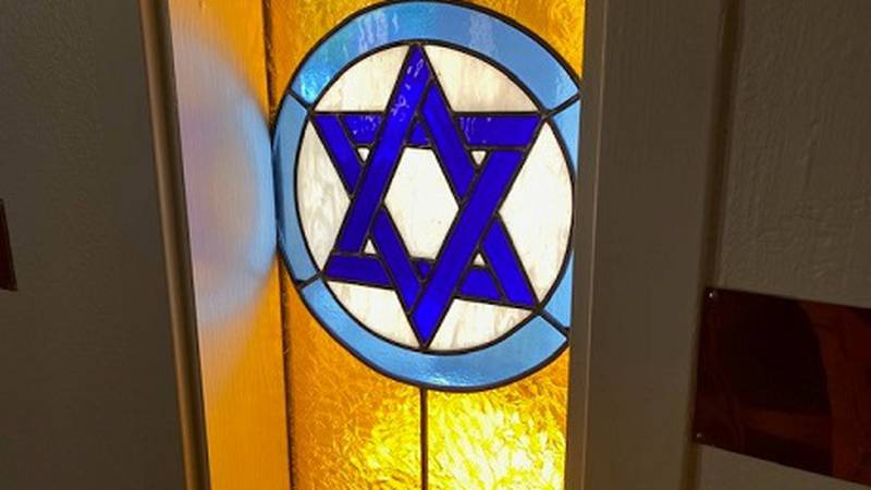 Stained glass at Temple Emanu-El