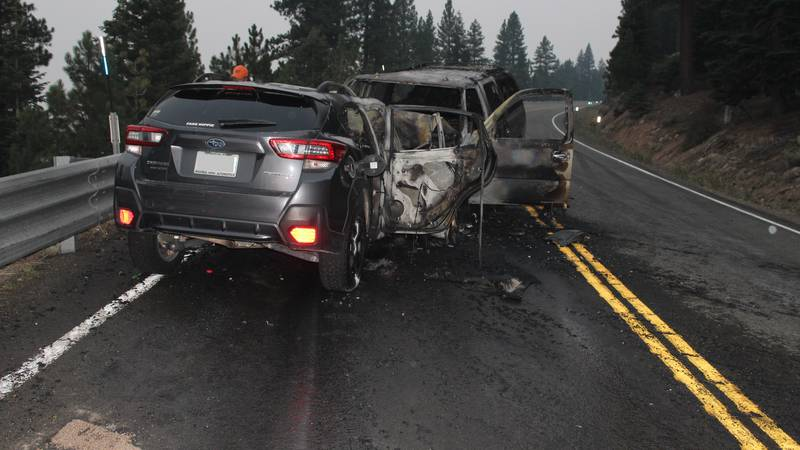 One person died in this head-on crash on Mount Rose Highway, Friday, Aug. 6, 2021.