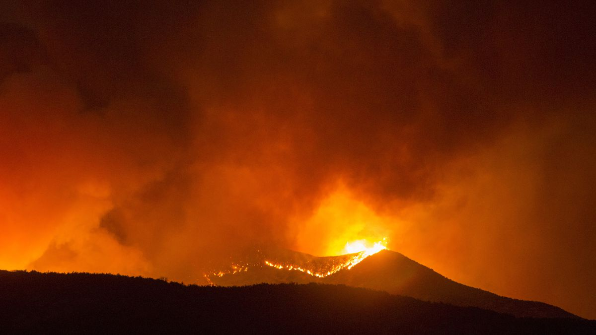 The Apple Fire burns in Banning, Calif., Saturday, Aug. 1, 2020.