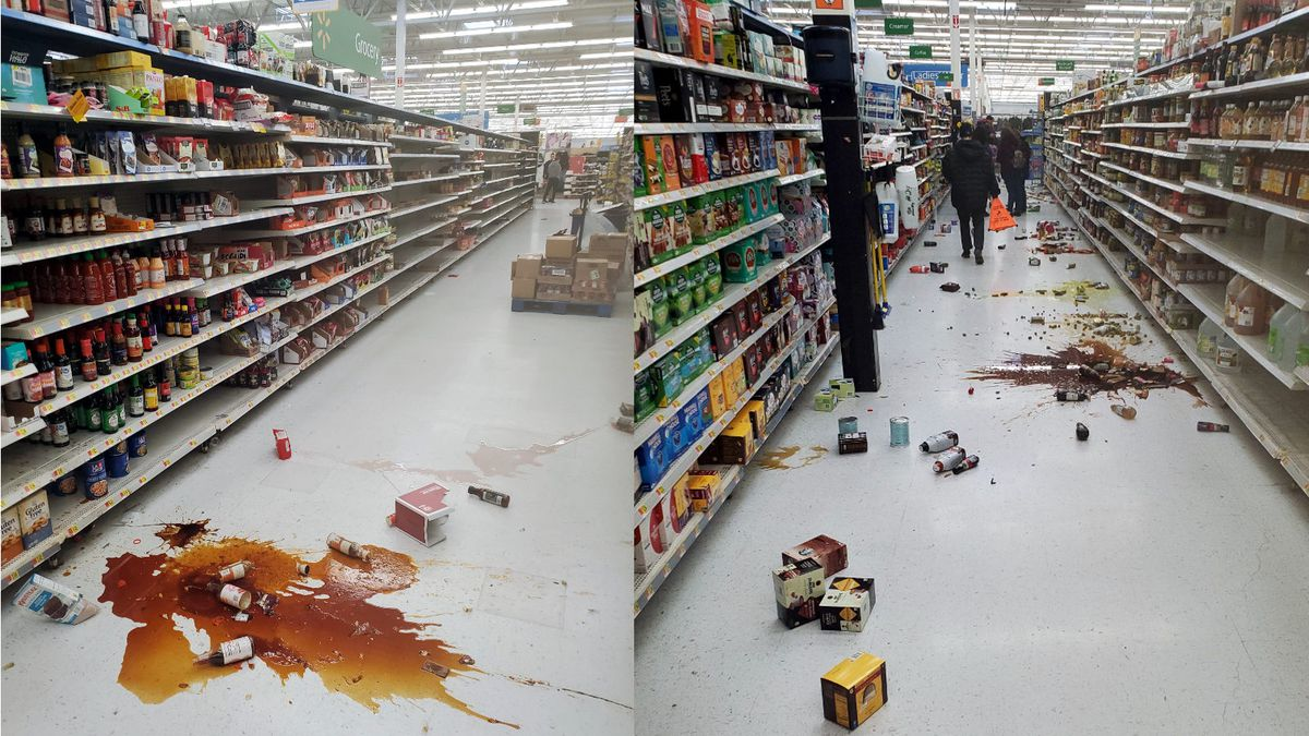 The Walmart on Topsy Lane in south Carson City after the earthquake. Photos by James Morgan.
