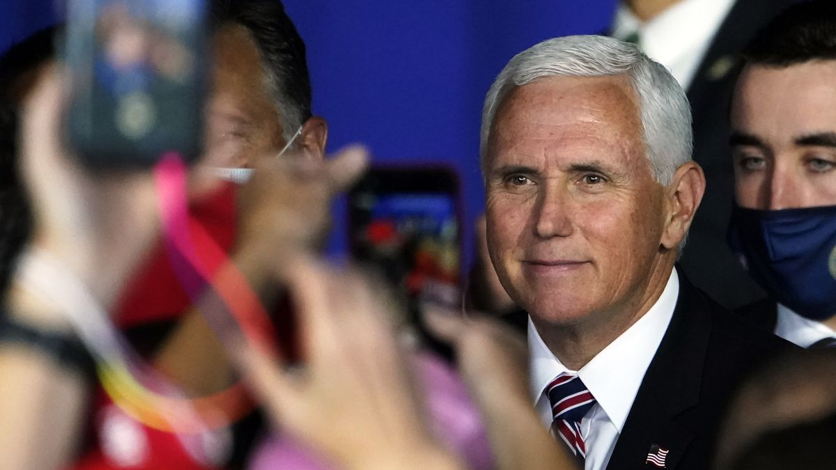 Vice President Mike Pence greets supporters after speaking at a campaign rally, Tuesday, Sept. 22, 2020, at Laconia Municipal Airport in Gilford, N.H.