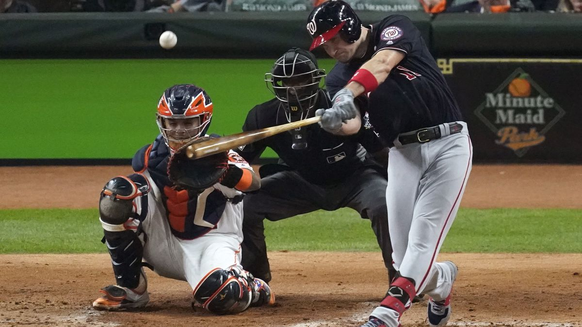FILE - In this Oct. 22, 2019, file photo, Washington Nationals' Ryan Zimmerman hits a home run...