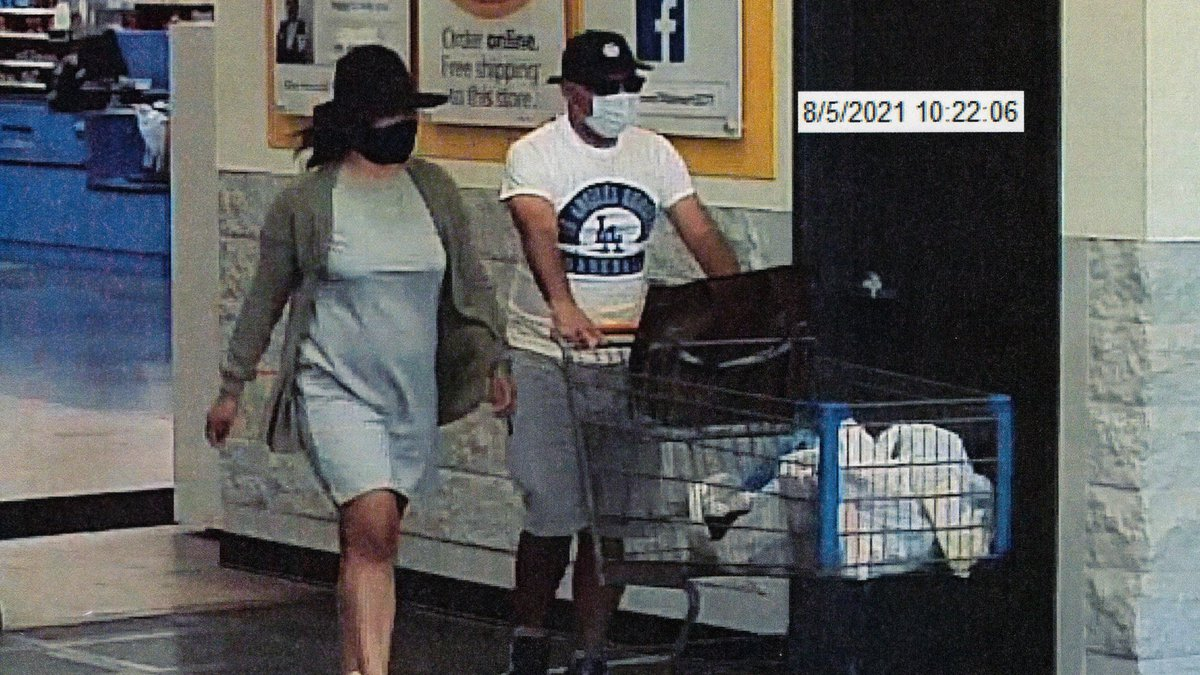 Surveillance video shows two credit card fraud suspects believed to be linked to two car...