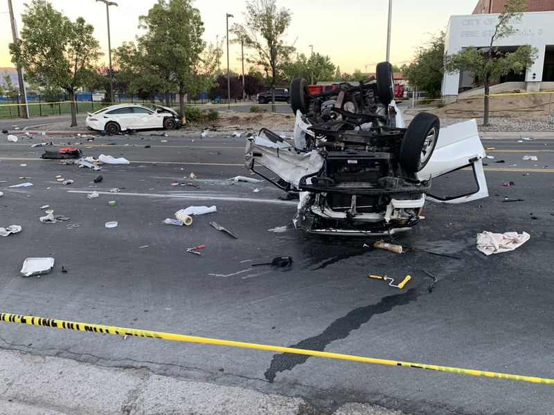 This was the scene around 8:30 PM on Moana Lane following the crash.