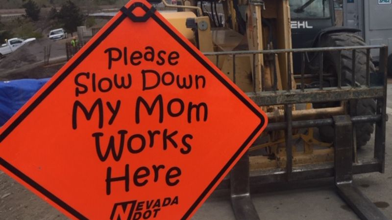Slow down caution sign at the Spaghetti Bowl project in Reno, Nevada