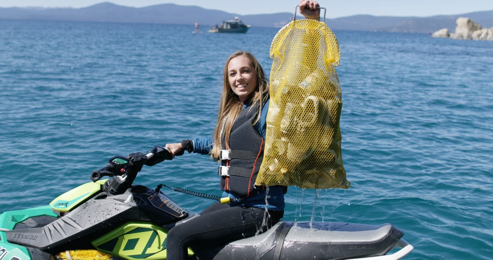 An effort is underway to collect trash from Lake Tahoe's 72-mile shoreline.