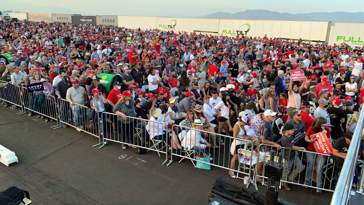 The crowd to hear President Donald Trump speak at a rally at Minden-Tahoe Airport.